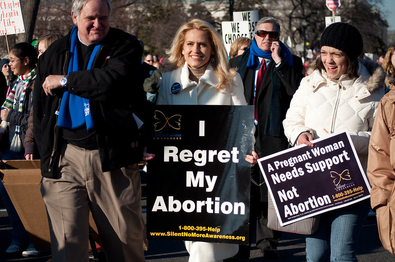 Protestors at an anti-abortion rally