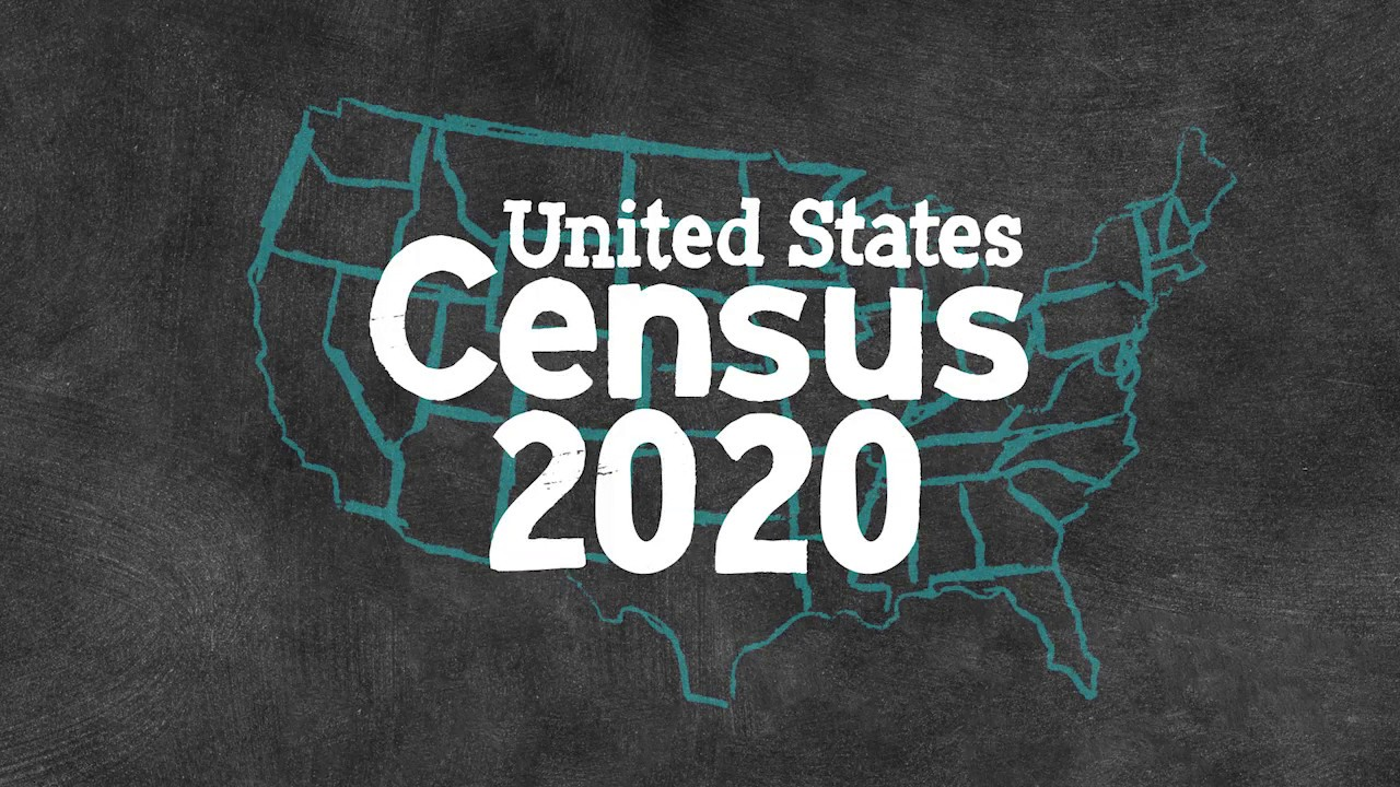 US Census 2020 text over map of US