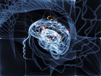 Image of brain waves in an outline of a human head