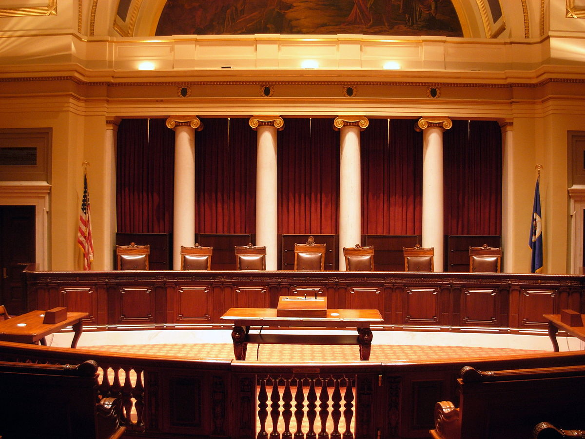 Photograph of an empty courtroom.