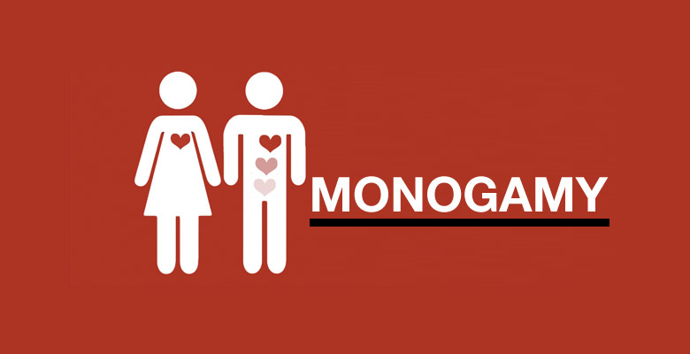 """Text reading """"Monogramy"""" with a man and a woman"""