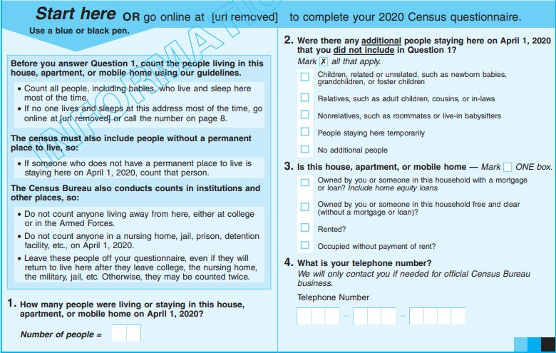 Page 1 of sample census questionnaire.