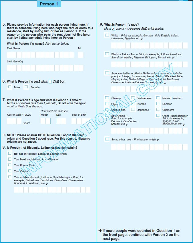 Page 2 of sample census questionnaire.
