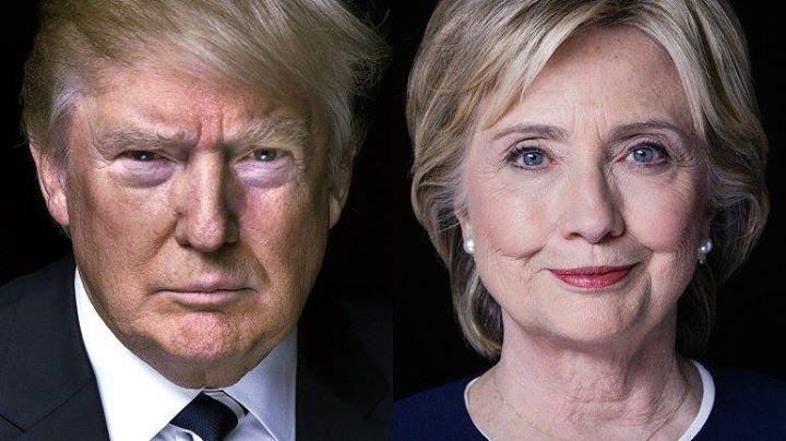 Headshots of Donald Trump and Hillary Clinton.