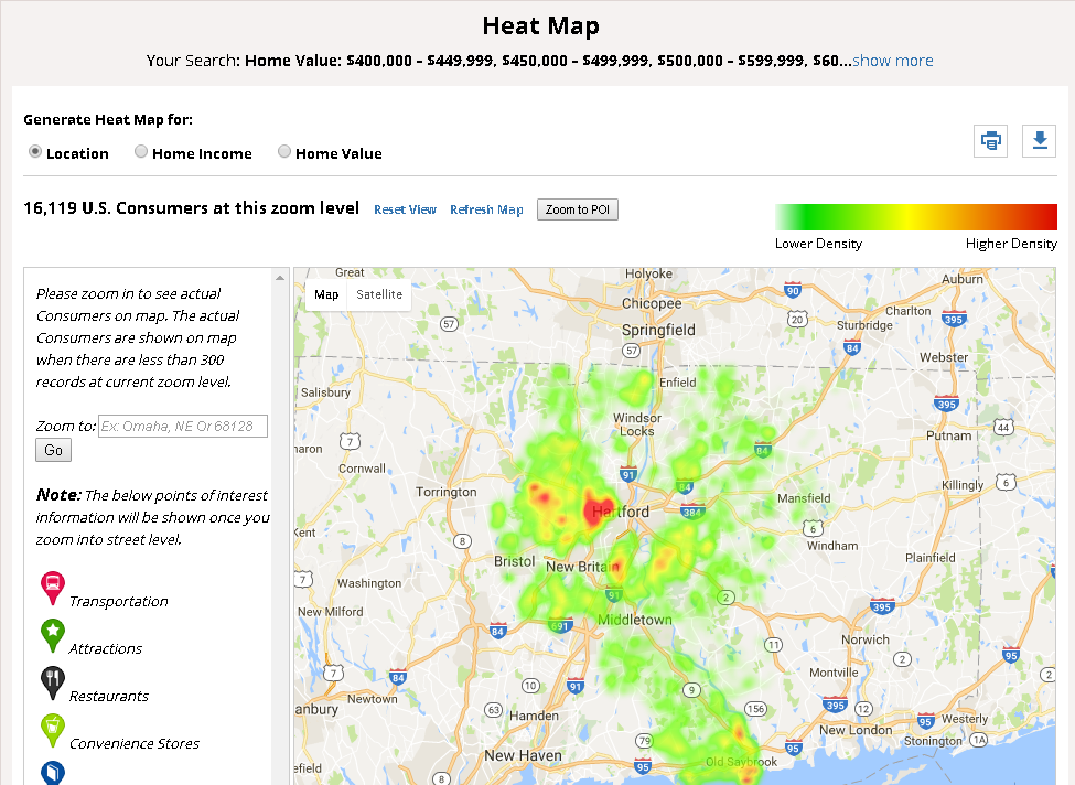 U.S. Consumers/Lifestyle heat map tool