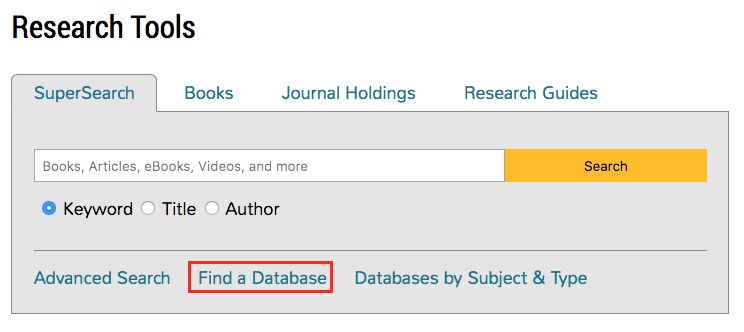 The Find a Database link is located directly under the SuperSearch field.