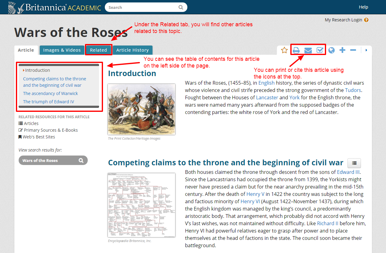 Reviewing an example article in Encyclopedia Britannica database