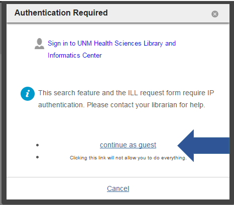 If you are not a UNM affiliate the option to continue as guest appears at the the bottom of the sign-in prompt page.