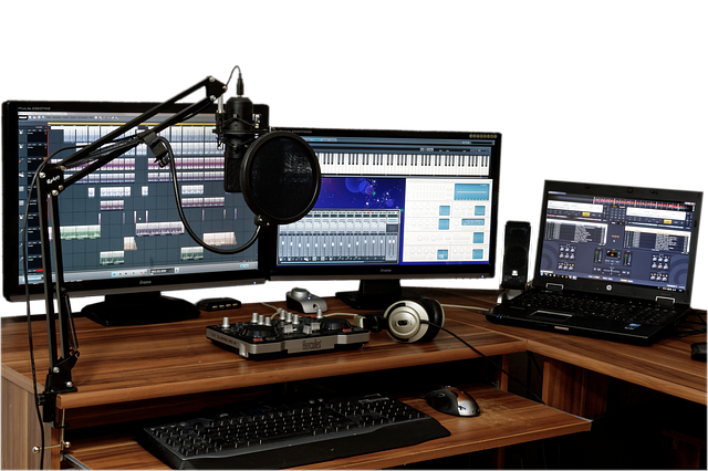 Photo of a desk with recording equipment.