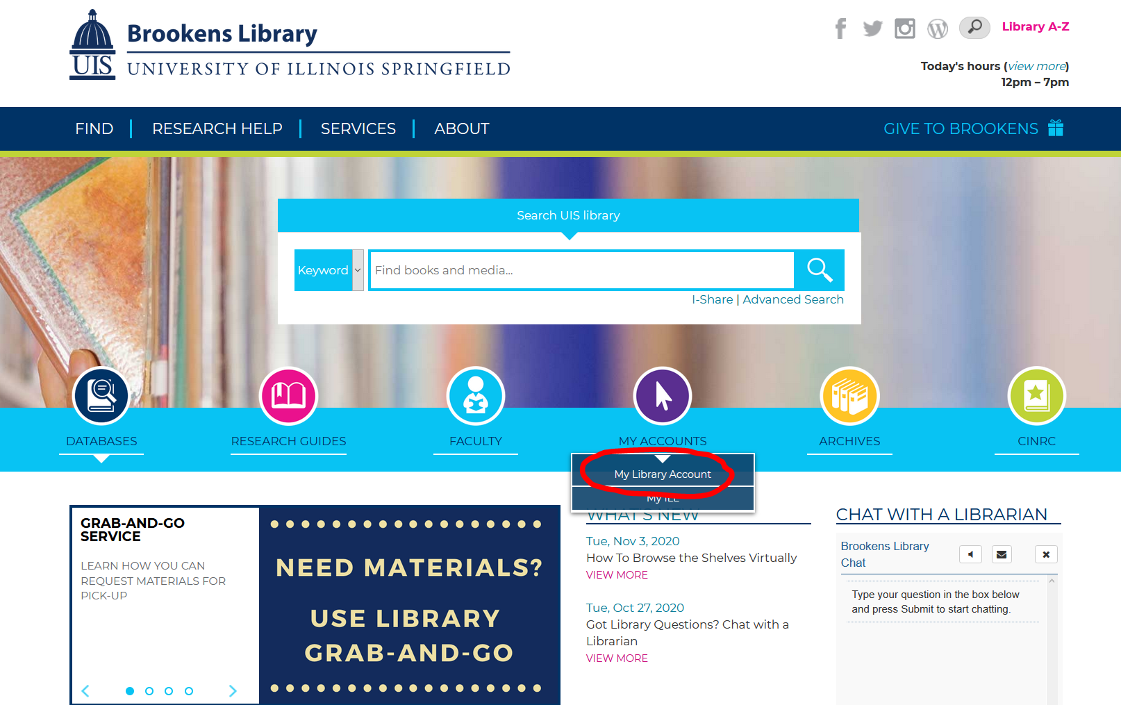 """Image of library homepage. Click on the """"My Accounts"""" button and then click """"My Library Account"""" in the dropdown."""
