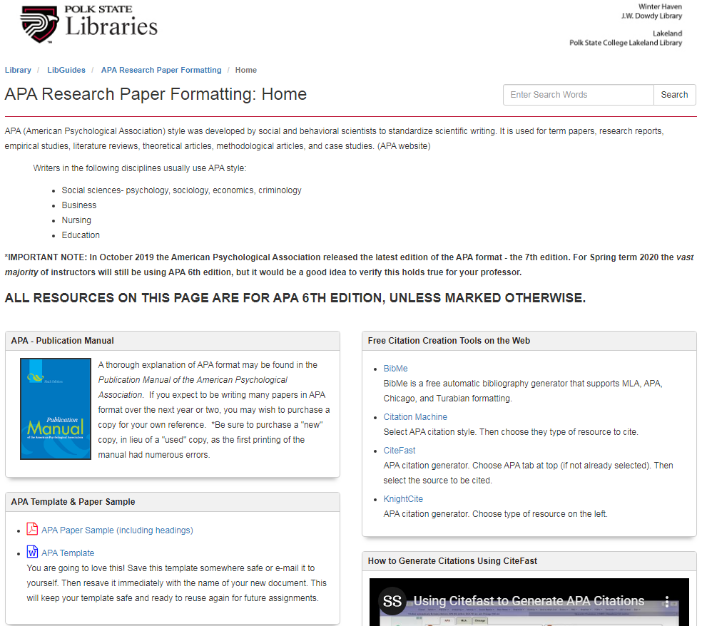 Screenshot of Polk State APA Library Guide