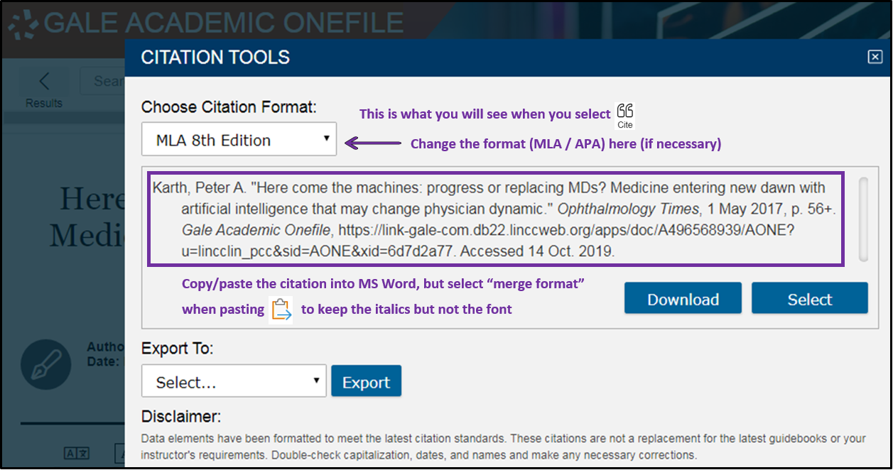 Image of the citation tool in the Academic OneFile database