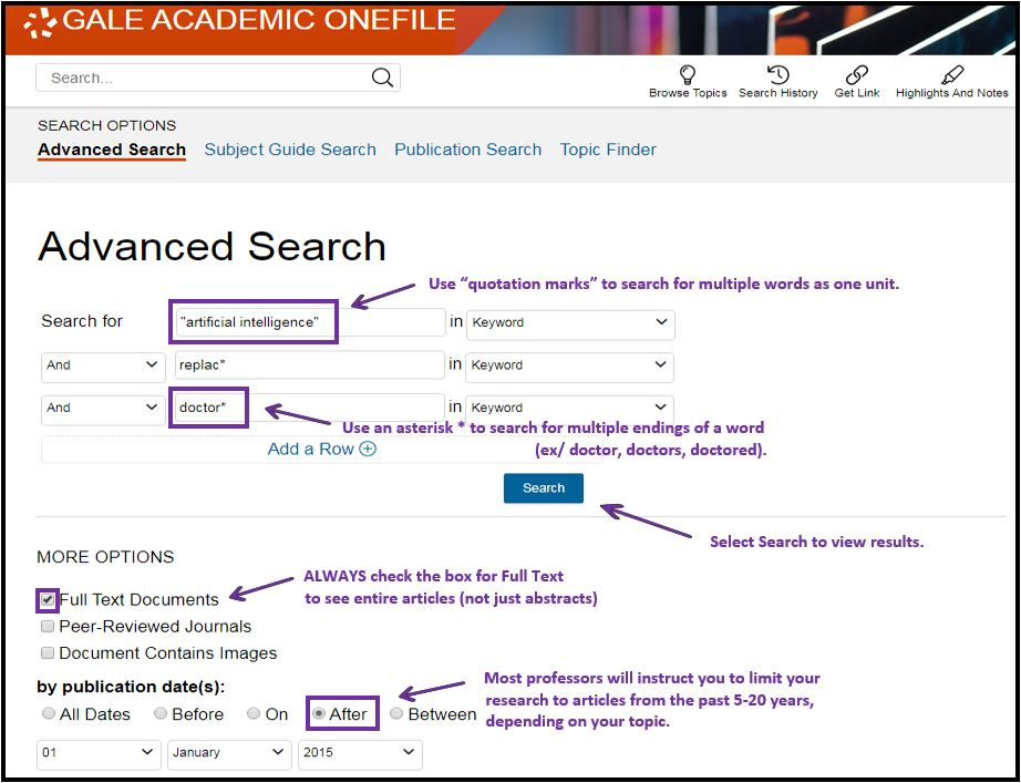 Image of a basic search in Gale Academic OneFile