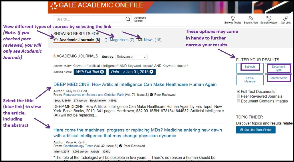 Image of search results in Gale Academic OneFile, including filtering tools