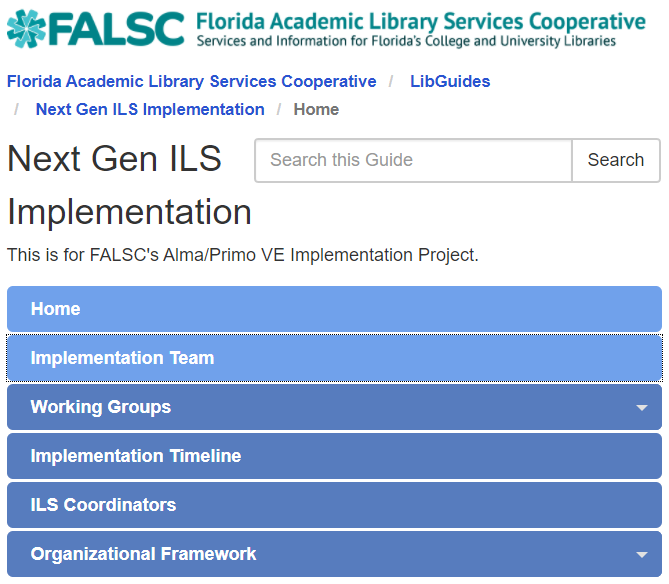 Image of the FALSC ILS LibGuide Homepage