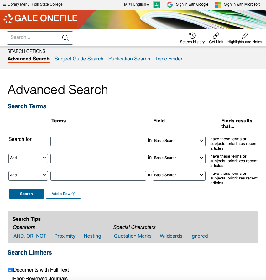 Main Search Screen for the Florida Newspaper Database (Gale)