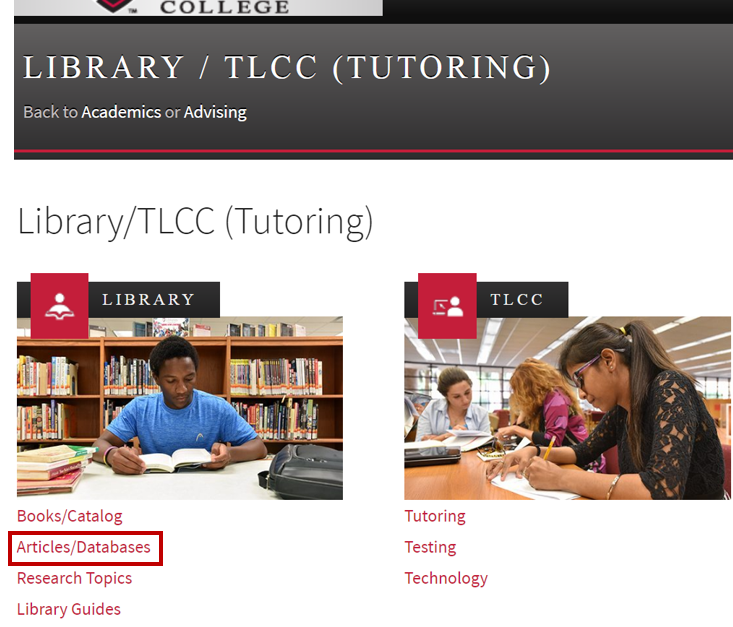 Image of Library/TLCC Homepage