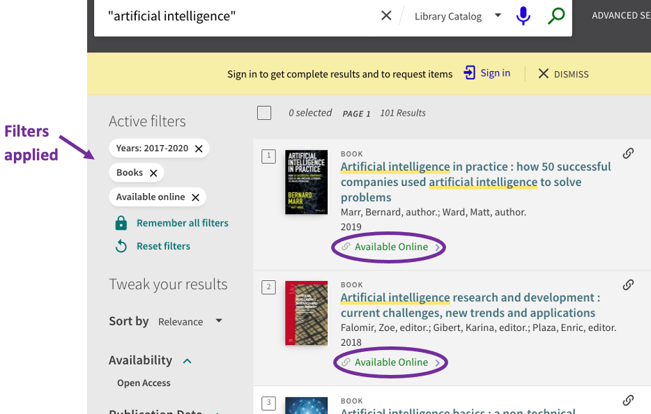 Primo search with filters for ebooks applied