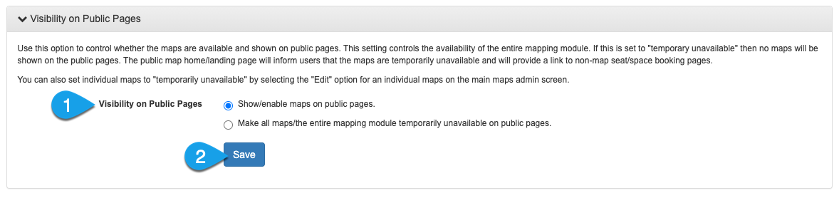mapping settings for customizing the public visibility for maps