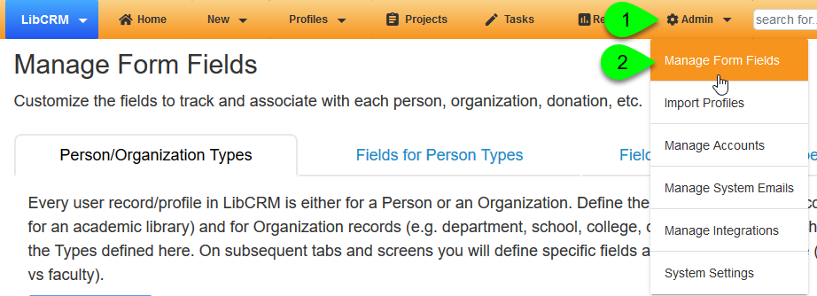 The Manage Form Fields option under the Admin menu
