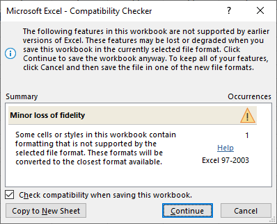 Excel Compatibility Checker message