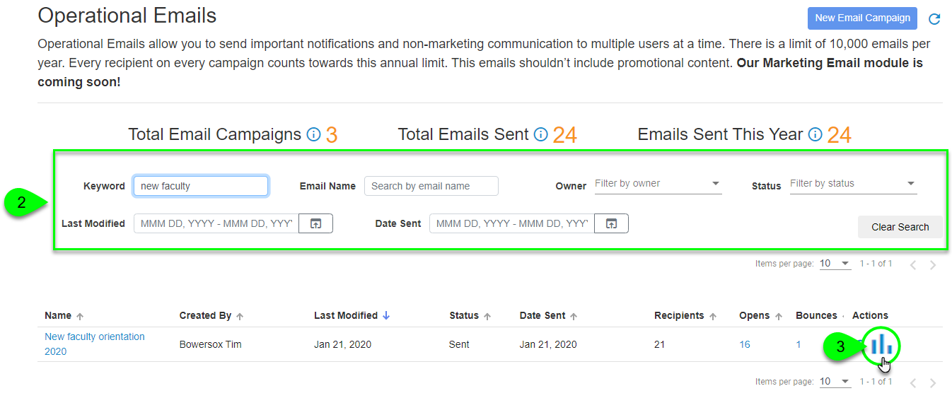 Clicking an email's analytics icon