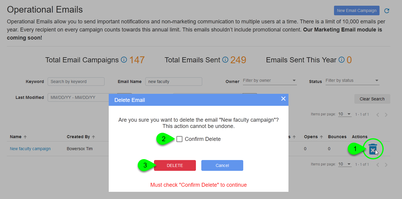 The Delete Forever icon and resulting Delete Email confirmation prompt