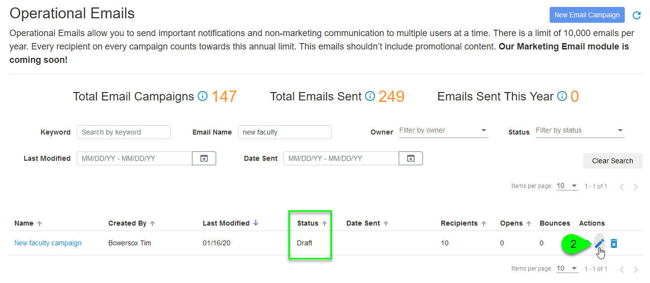 An email campaign's Edit icon on the Operational Emails page