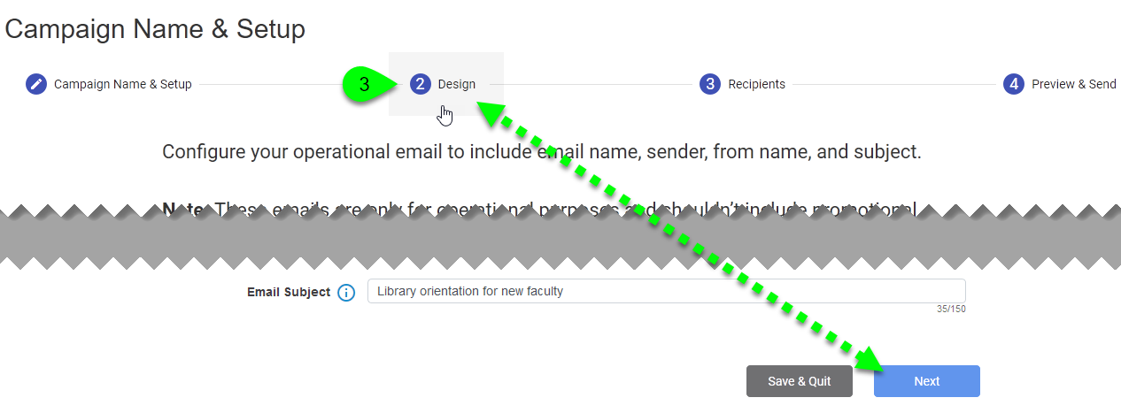 Navigating between steps when editing an email campaign