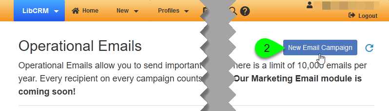 The New Email Campaign button