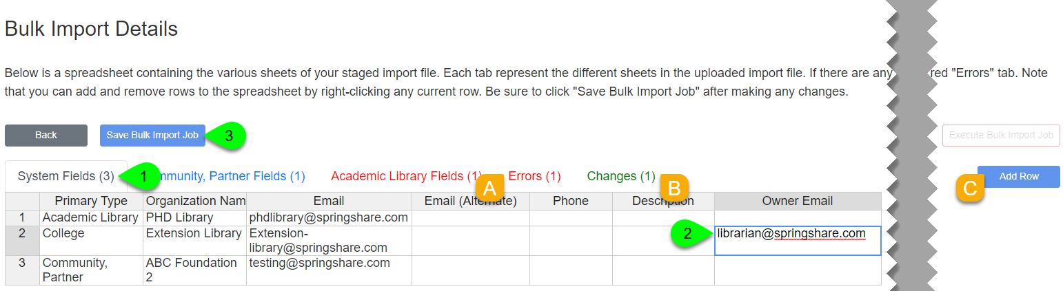 Editing a cell in the System Fields tab