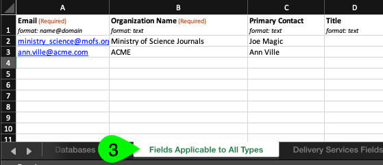 The Fields Applicable to All Types worksheet in Excel