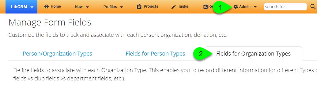 Navigating to the Organization Profile Fields settings