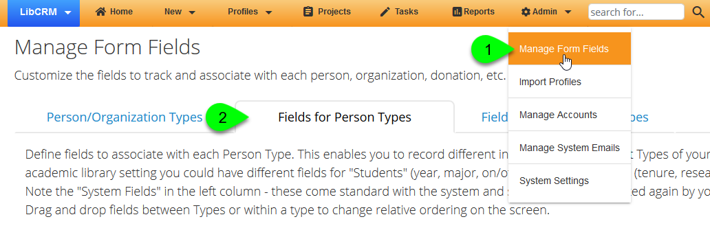 Navigating to the Person Profile Fields settings