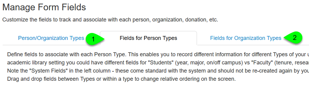 The Fields for Person Types tab and Fields for Organization Types tab