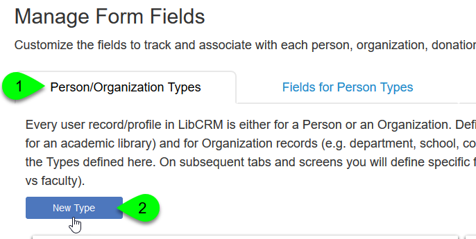 The New Type button under the Person/Organization Types tab