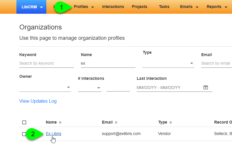 Viewing a specific profile from the Organizations profiles page