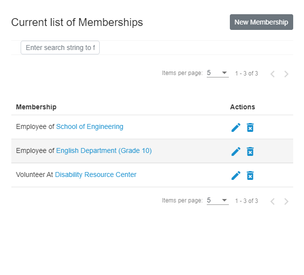Example of memberships added to a profile