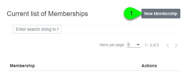 Clicking the New Membership button