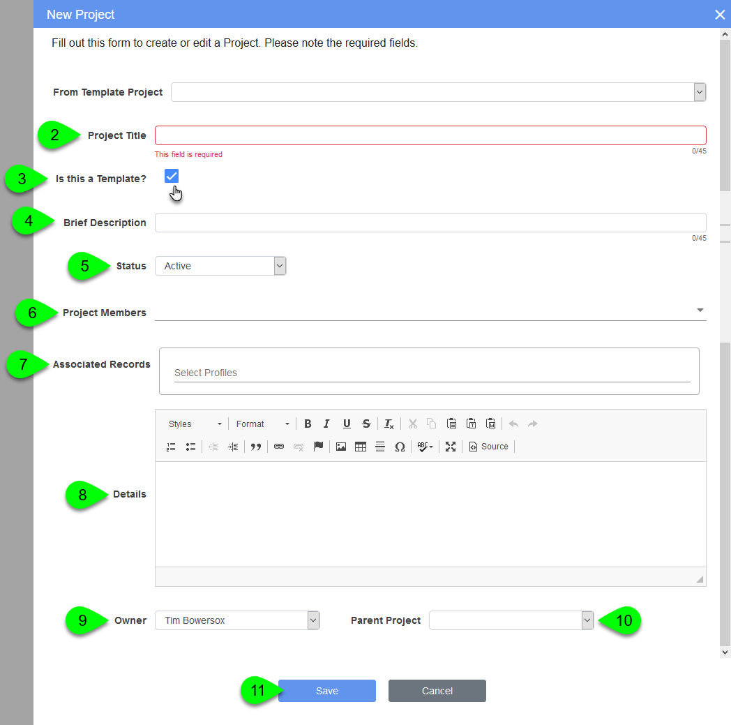 Options in the New Project modal when creating a template