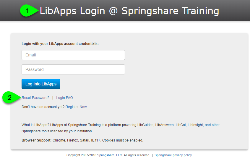 A LibApps login page