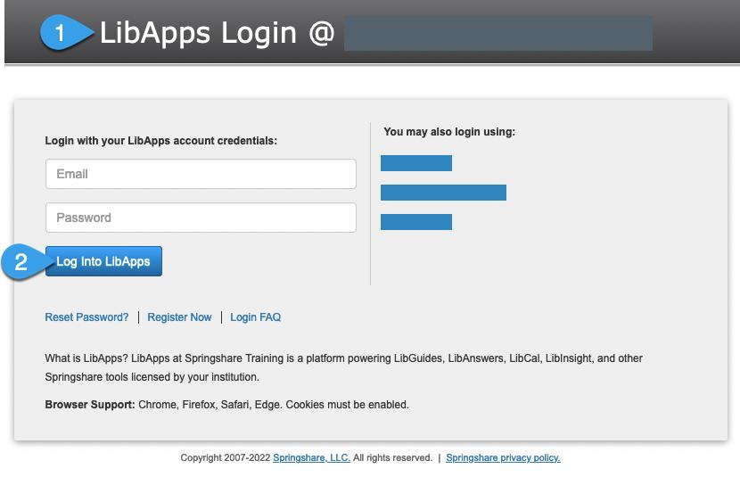 A LibApps login page