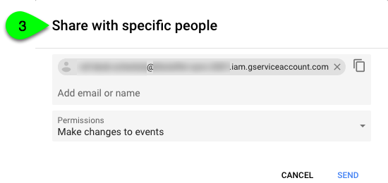 Google Calendar's Share with Specific People screen.