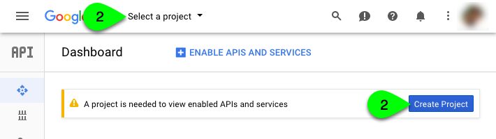 Creating a project in the Google Dev Console.