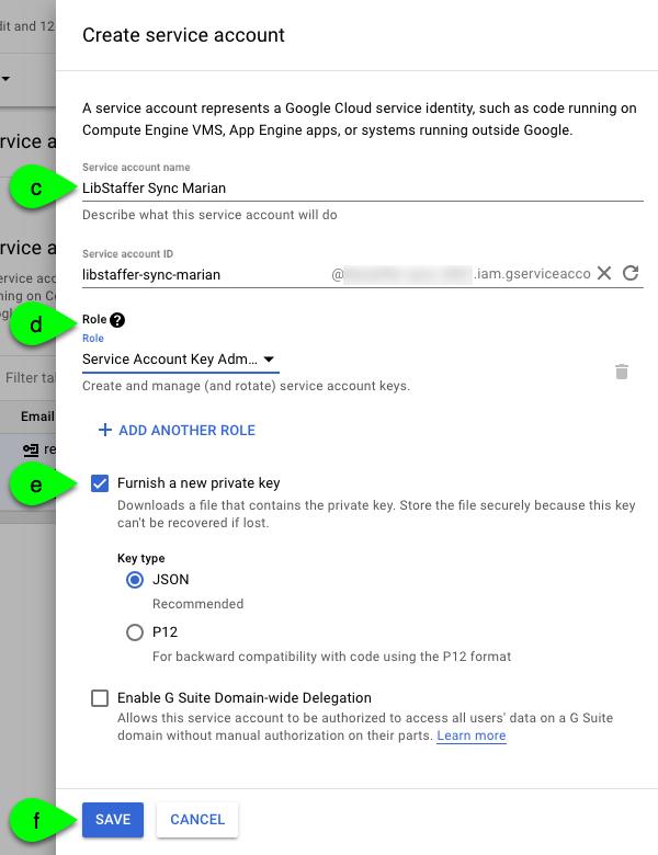 Create Service Account form in the Google Dev Console