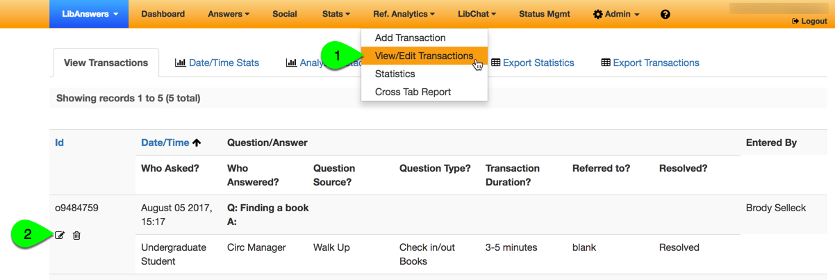 add new faq from an existing ref analytics transaction