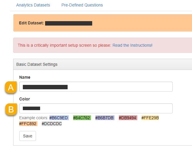 the Basic Dataset Settings panel