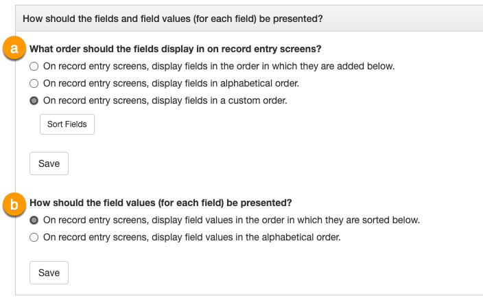 the How should the field values (for each field) be presented? panel