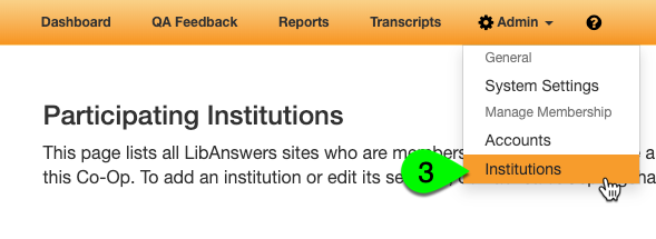 The Institutions link under the Admin menu
