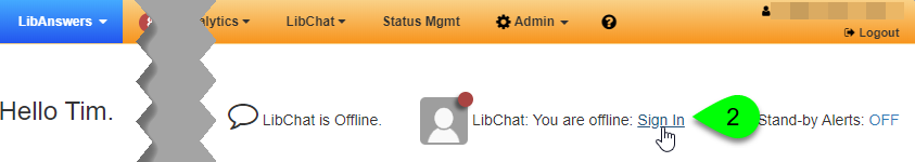 The Sign In link on the LibAnswers dashboard page
